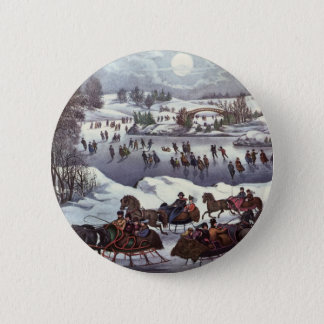 Vintage Christmas, Central Park in Winter Button