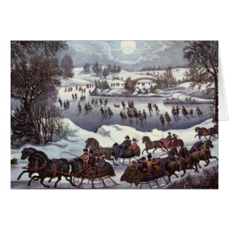 Vintage Christmas, Central Park in Winter Card