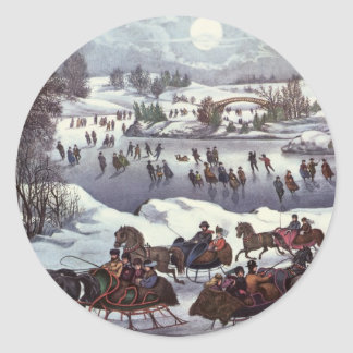 Vintage Christmas, Central Park in Winter Classic Round Sticker
