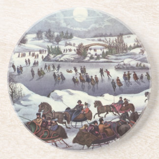Vintage Christmas, Central Park in Winter Beverage Coaster