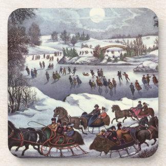 Vintage Christmas, Central Park in Winter Beverage Coasters