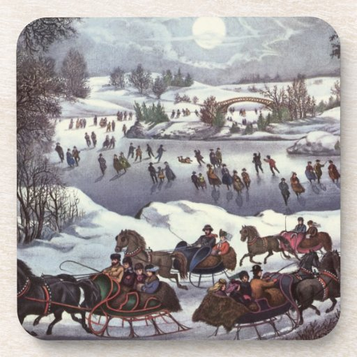 Vintage Christmas, Central Park in Winter Beverage Coasters