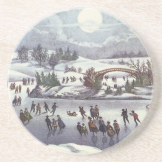 Vintage Christmas, Central Park in Winter Drink Coaster