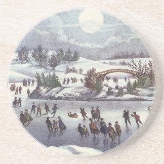 Vintage Christmas, Central Park in Winter Drink Coaster
