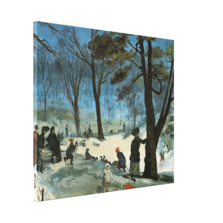Vintage Christmas, Central Park in Winter Glackens Canvas Print