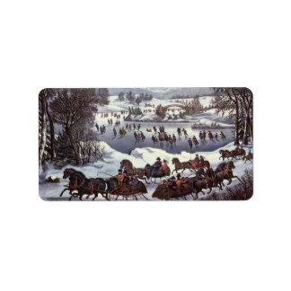 Vintage Christmas, Central Park in Winter Labels