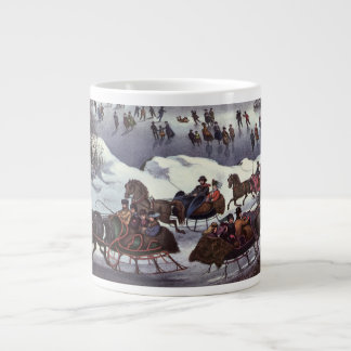Vintage Christmas, Central Park in Winter Large Coffee Mug