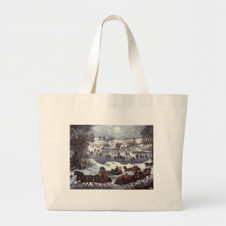 Vintage Christmas, Central Park in Winter Large Tote Bag