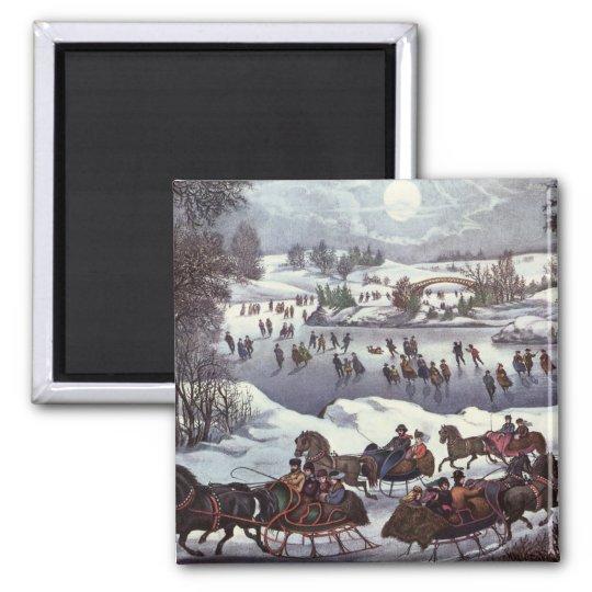 Vintage Christmas, Central Park in Winter Magnet