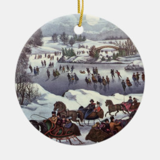 Vintage Christmas Central Park in Winter Christmas Ornament