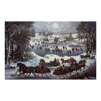 Vintage Christmas, Central Park in Winter Posters