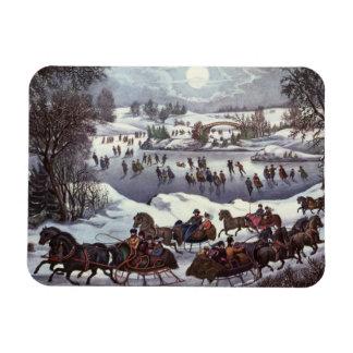Vintage Christmas, Central Park in Winter Vinyl Magnet