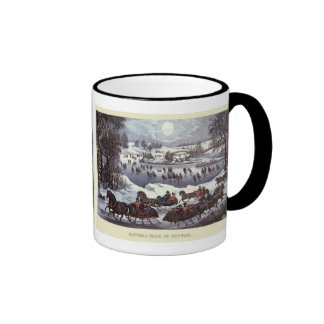 Vintage Christmas, Central Park in Winter Ringer Coffee Mug