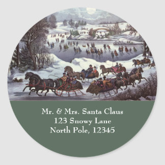 Vintage Christmas Central Park in Winter Round Stickers