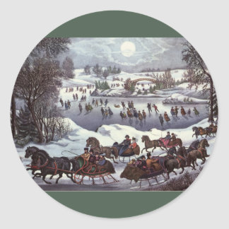 Vintage Christmas Central Park in Winter Sticker