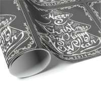 VINTAGE CHRISTMAS CHALKBOARD TREE GIFT WRAPPING WRAPPING PAPER