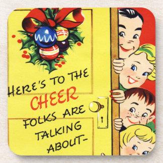 Vintage Christmas Cheer Set of Cork Coasters
