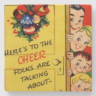 Vintage Christmas Cheer Stone Coaster