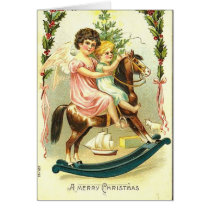 Vintage Christmas Cherubs and Rocking Horse Card