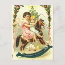 Vintage Christmas Cherubs and Rocking Horse Holiday Postcard