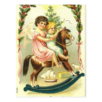 Vintage Christmas Cherubs and Rocking Horse Postcard