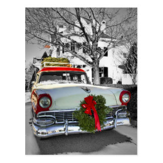 Vintage Christmas Chevy Postcard