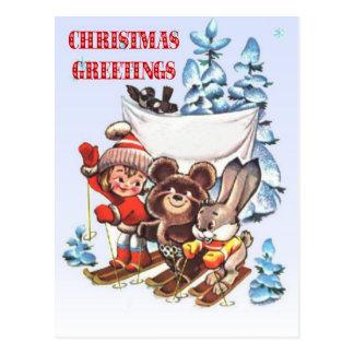 Vintage Christmas,  Child and animals on skis Postcard