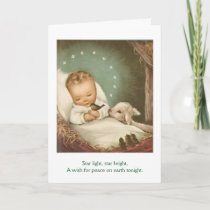 Vintage - Christmas Child in a Manger, Card