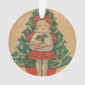 Vintage Christmas Child infront of Tree Ornament