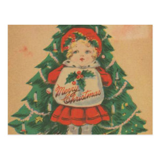 Vintage Christmas Child  infront of Tree Postcard