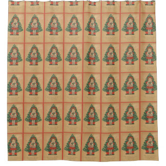 Vintage Christmas Child infront of Tree Shower Curtain
