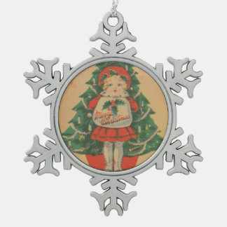Vintage Christmas Child infront of Tree Snowflake Pewter Christmas Ornament