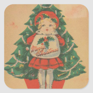 Vintage Christmas Child  infront of Tree Square Sticker