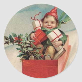 Vintage Christmas Child Presents Stickers