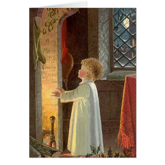 Vintage Christmas, Child Warming by the Fireplace Card