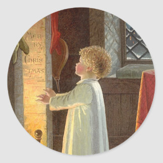 Vintage Christmas, Child Warming by the Fireplace Classic Round Sticker
