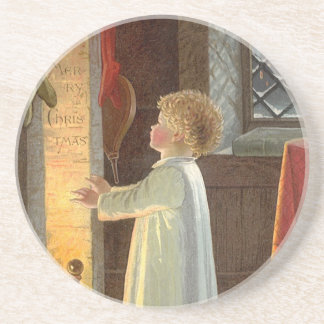 Vintage Christmas Child Warming by the Fireplace Drink Coaster