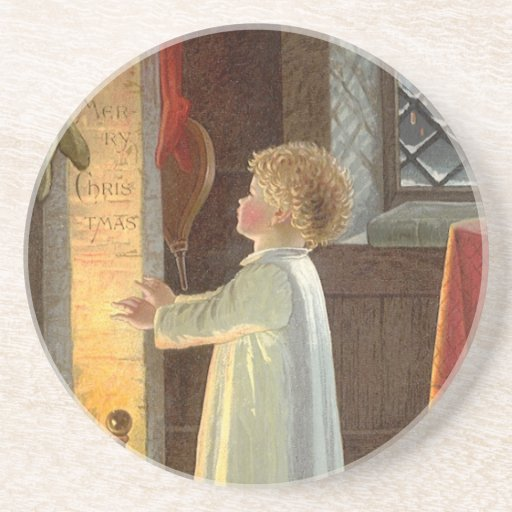 Vintage Christmas, Child Warming by the Fireplace Drink Coaster