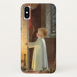 Vintage Christmas, Child Warming by the Fireplace iPhone X Case