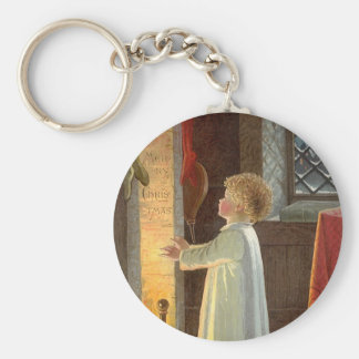 Vintage Christmas, Child Warming by the Fireplace Basic Round Button Keychain