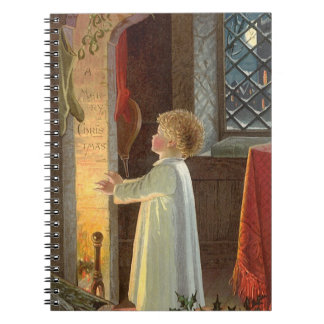 Vintage Christmas, Child Warming by the Fireplace Notebook