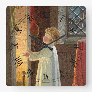 Vintage Christmas, Child Warming by the Fireplace Square Wall Clock