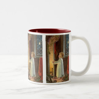 Vintage Christmas, Child Warming by the Fireplace Two-Tone Coffee Mug