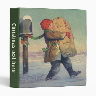Vintage Christmas, Child with Large Package 3 Ring Binder