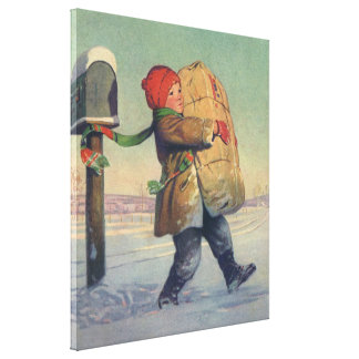 Vintage Christmas, Child with Large Package Canvas Print