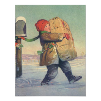 Vintage Christmas, Child with Large Package Card