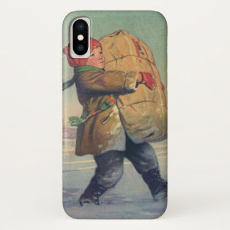 Vintage Christmas, Child with Large Package iPhone X Case