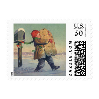 Vintage Christmas, Child with Large Package Postage