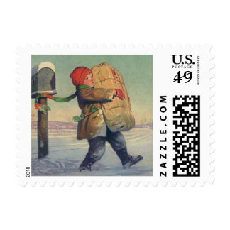 Vintage Christmas, Child with Large Package Postage Stamp