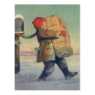 Vintage Christmas, Child with Large Package Postcard